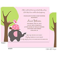 Pink and Green baby Shower Invitation with elephant, turtle, bird and nest for the new little girl