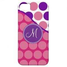 Custom Monogram Initial Pink Purple Polka Dots iPhone 5 Cases