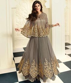 #ShilpaShetty Grey Long #AnarkaliSuit