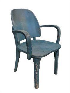 CADEIRA PROFESSOR - Cadeira de braços em madeira, com pintura azul esverdeada.
