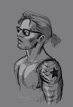 Bucky Barnes + ponytail and shades Marvel Dc, Marvel Fan Art, Winter Soldier Cosplay, Winter Soldier Bucky, Bucky Barnes, Sebastian Stan, Captain America And Bucky, Bucky And Steve, Stucky
