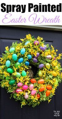 Extend the life of an old wreath!  Spray-Painted-Easter-Wreath  EASY!