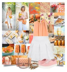 """Posh Peach"" by cheyenne-muter ❤ liked on Polyvore featuring Mulberry, Topshop, Vans, Chanel, Lizzy James, Summer, Spring, peach and warmweather"