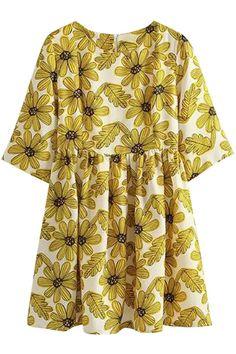 Yellow Floral Short Sleeve A-Line Mini Dress