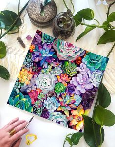 Succulent Garden -  Watercolor Painting - Floral - Bohemian Illustration - 11x11 Giclee Print - Home Decor Succulent Garden Watercolor Painting Floral Bohemian<br>