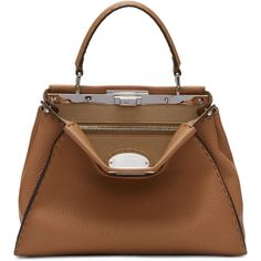 Fendi Brown Regular Selleria Peekaboo Bag (287.210 RUB) ❤ liked on Polyvore featuring bags, handbags, brown, structured purse, brown studded handbag, brown bag, fendi and logo duffle bags