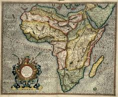 """Map of Africa by Rumold Mercator, based on the projections of his father Gerardus. From """"Atlas sive Cosmographicae Meditationes de Fabrica Mundi et Fabricati Figura"""", 1595 Vintage Maps, Antique Maps, Casablanca, Map Globe, Atlas, Old Maps, Map Design, Historical Maps, Art History"""