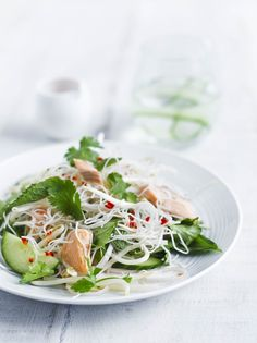 The kind of salad we love: Fresh, clean Thai flavours, smoked fish and noodles with a hit of chilli and lime. And it's healthy, less than 300 kcalories but still a satisfying supper for one. Smoked Trout Salad, Smoked Fish, Asian Recipes, Healthy Recipes, Ethnic Recipes, Risotto Dishes, Recipe Cover, Clean Breakfast, Kinds Of Salad