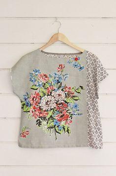 awesome Upcycled Tea Towel Patchwork Women Top Shirt Black White Grey Vintage Retro Floral Bouquet Medium Australia