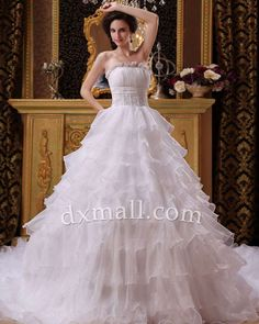 A-line Wedding Dresses Strapless Cathedral Train Organza Satin White 01001010037