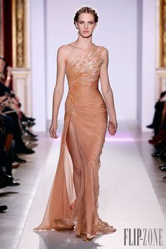 Zuhair Murad <span lang='fr'>Photos officielles</span>, S/S 2013 - Couture - http://www.flip-zone.com/zuhair-murad-3366 - Long asymmetrical dress in vaporous silk chiffon and salmon overtones of feathers and pearls.