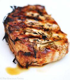 BBQ Rosemary Pork Chops - -6 Springs of fresh rosemary 2 tablespoons olive oil Salt and pepper to taste