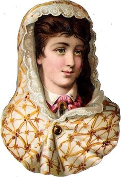 Oblaten Glanzbild scrap die cut chromo Lady Dame 11,5 cm head portrait national