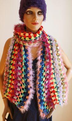 gehäkelter kuschelweicher Schal, Hingucker, auch für elegante Anlässe Handmade Scarves, Elegant, Shawls, Colours, Crochet, Fashion, Ponchos, Scarf Crochet, Handarbeit