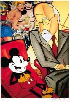 ERRO Mickey psychanalysé par Freud. Sérigraphie en couleur signée et datée