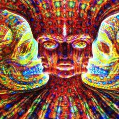 #DMT ((Credit :: @Alexgreycosm)) Alex Gray Art, Alex Grey, Arte Dope, Dope Art, Psychedelic Art, Cool Optical Illusions, Sacred Geometry Art, Images Gif, Stoner Art