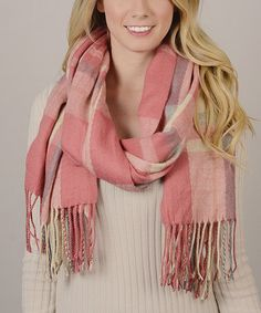 Love this Pink Plaid Blanket Scarf on #zulily! #zulilyfinds
