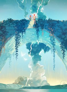 Inspirationally Sane By Art And Music : Photo Fantasy Landscape, Landscape Art, Fantasy Art, Pretty Art, Cute Art, Arte Peculiar, Environment Concept Art, Anime Scenery, Aesthetic Art