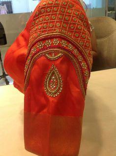 Wedding Saree Blouse Designs, Pattu Saree Blouse Designs, Choli Designs, Designer Blouse Patterns, Fancy Blouse Designs, Sari Blouse, Sleeve Designs, Saree Wedding, Wedding Bride