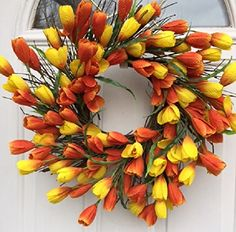 Spring Sun Rise Orange and Yellow Silk Tulip Floral Wreath for A Protected Front Door Comes with Door Wreath Hanger Interior Summer Decor Wreath Hanger, Diy Wreath, Tulip Wreath, Floral Wreath, Spring Door Wreaths, Pinterest Projects, Front Door Decor, Tulips, Orange