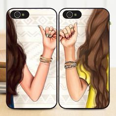 Best Friends BFF Girl Matching Hard Phone Case Cover for iPhone 6S 5S 7 5 6 Plus