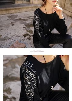 Styleonme_Studs Pointed Long Knit Tee #tee #knits #knit #knittop