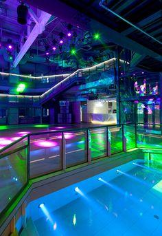 Concert Stage Design, Octagon House, Nightclub Design, Neon Room, Pub, Home Theater Rooms, Neon Aesthetic, Secret Rooms, Urban Life