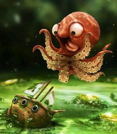 Oh yeah a pet dog, but how about a giant pet octopus!!! X)