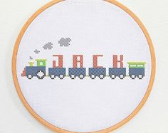 Cute kids custom cross stitch alphabet TRAIN FONT baptism diy gift birth day modern baby hand embroidery custom monogram cross stich pattern