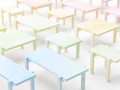 colored pencil tables by nendo