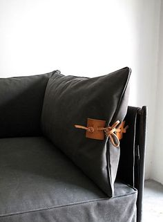 Indoor Outdoor Furniture Made From Salvaged Waxed Canvas Casamidy Altamura Canvas And Leather Sofa Remodelista Diy Pillows, Cushions On Sofa, Decorative Pillows, Decorative Accents, Sectional Furniture, Sectional Sofas, Leather Pillow, Leather Cushions, Saddle Leather