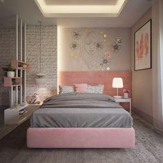 Pink and grey bedroom on behance Teen Bedroom Designs, Bedroom Decor For Teen Girls, Room Design Bedroom, Bedroom Furniture Design, Room Ideas Bedroom, Home Room Design, Small Room Bedroom, Small Girls Bedrooms, Stylish Bedroom