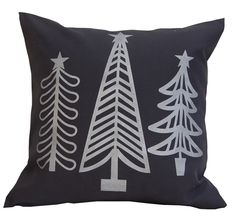 silver christmas pillow