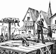 Wheel: Chriistian Cathars are getting wheeled before they will be burned on stakes by the order of the Catholic church for practicing Etruscan version of Christianity