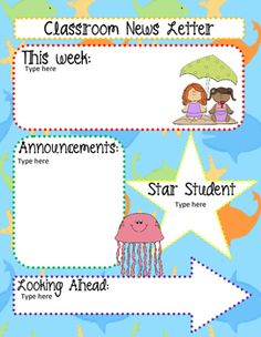 microsoft word, free printable monthly, free office, classroom weekly, fun company, on ocean themed newsletter template