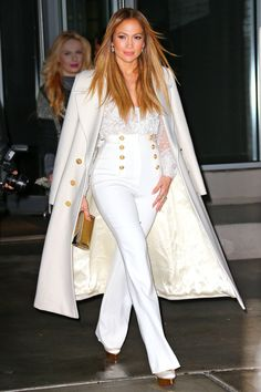 Who: Jennifer Lopez What: Sailor Pants Why: The actress is all-glamour in a white Michael Kors coat paired with high-waisted, navy-inspired trousers while out and about. Get the look now: Vince pants, $325, nordstrom.com.        Splash News  - HarpersBAZAAR.com