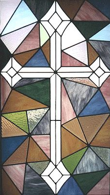 Christian Stained Glass Patterns | Patchwork Cross is an original design for a home with a high arching ...
