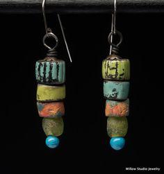 Ziggurat Earrings Rustic ceramic and glass by WillowStudioJewelry