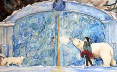 """The hidden door (first attempt. Reworked with forest and wolf etc, so not used in the book """"East of the Sun, West of the Moon""""). Watercolour by Jackie Morris"""