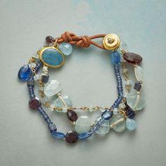 Kaikos Bracelet: Semi-precious gems—aquamarine, kyanite, garnet and Peruvian chalcedony—ebb and flow in Nava Zahavi's handcrafted bracelet. Eye Jewelry, Beaded Jewelry, Fashion Jewelry, Beaded Bracelets, Necklaces, Jewellery, Handmade Bracelets, Handmade Jewelry, Unique Jewelry