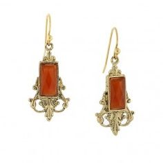 Gold-Tone Carnelian Orange Drop Earrings