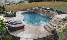 Gorgeous Aquascape OKC Outdoor Swimming Pool Ideas Aquascape OKC has various different ideas that you can apply to your swimming pool. Let's see a variety of examples!Ideas for Swimming Pool from Aquascape OKC Sloped Backyard, Backyard Pool Landscaping, Small Backyard Pools, Backyard Pool Designs, Small Pools, Swimming Pools Backyard, Landscaping Ideas, Backyard Ideas, Waterfall Landscaping