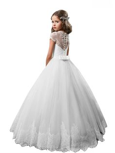 Princess Floor Length Wedding / Birthday / First Communion Flower Girl Dresses - Cotton / nylon with a hint of stretch / Lace / Tulle Short Sleeve Jewel Neck with Lace / Crystals / Rhinestones 2020 - US $87.99 Miniature Bride Dress, First Communion, Stretch Lace, Crystal Rhinestone, Tulle, Flower Girl Dresses, Jewels, Princess, Crystals