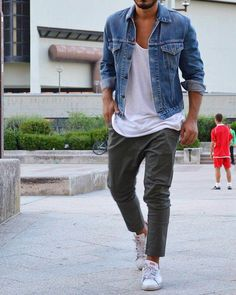 Denim Jacket With Green Chinos for Men