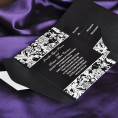 vintage black and white pocket wedding invitations with free response card EWPI019 |