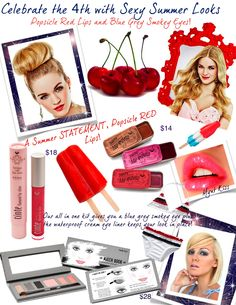 4th of July Beauty from TINte Cosmetics flavored lip gloss vintage slider tins