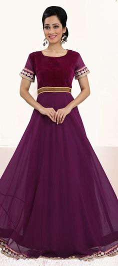 439028: Purple and Violet color family stitched gown .