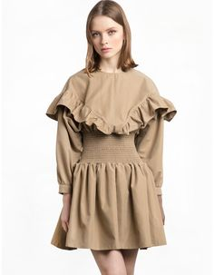 Smocked Waist Ruffle Khaki Dress. I would love to sew something similar... probably in teal or pastel purple.