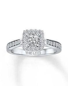 Kay Jewelers engagement ring from Leo Diamond collection in white gold with princess cut I Style: 991159815 I https://www.theknot.com/fashion/991159815-the-leo-diamond-engagement-ring?utm_source=pinterest.com&utm_medium=social&utm_content=june2016&utm_campaign=beauty-fashion&utm_simplereach=?sr_share=pinterest
