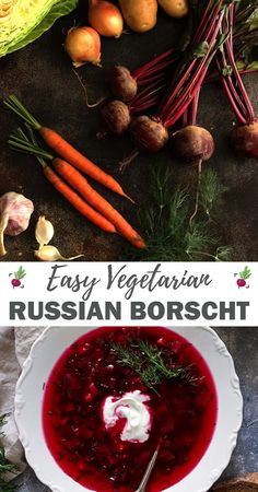 Easy Russian Borscht Soup This easy one-pot vegetarian Russian Borscht recipe only takes 30 minutes to make! Delicious and wholesome winter beet soup full of nutrients! French Vegetarian Recipes, One Pot Vegetarian, Raw Food Recipes, Soup Recipes, Healthy Recipes, French Recipes, Beet Recipes, Healthy Soup, Vegetarian